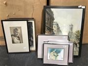 Sale 8949 - Lot 2079 - 4 Works: Artist Unknown - European Scene, oil on board, SLR with 4 Framed Prints of American Indians