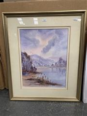 Sale 9008 - Lot 2066 - Mary Jane Burke Evening Sky, Shoalhaven River watercolour, 65 x 55cm (frame) signed