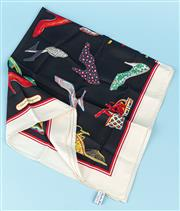 Sale 9083F - Lot 1 - A FERRAGAMO SILK SHOE MOTIF SCARF; black ground with cream border and red accent stripe, hand rolled edge, size 87 x 87cm.