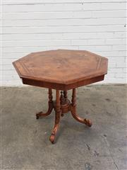 Sale 9085 - Lot 1084 - Victorian Figured Walnut Octagonal Occasional Table, with book-matched veneers & cross-banding, on a turned birdcage base with centr...