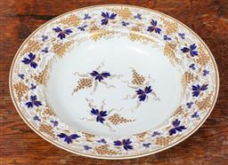 Sale 9120H - Lot 129 - An early Derby gilt and blue grape vine decorated rimmed bowl, Diameter 25.5cm