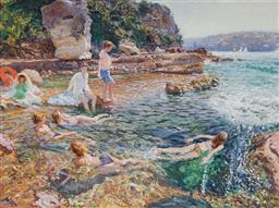 Sale 9141 - Lot 600 - Patrick Russell Untitled (Swimmers) oil on canvas 90.5 x 120.5 cm (frame: 118 x 147 x 5 cm) signed lower right