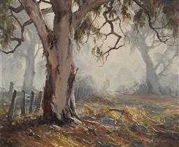 Sale 9170 - Lot 507 - TERRY GLEESON (1934 - 1976) Morning Mist oil on board 44.5 x 54 cm (frame: 64 x 74 x 3 cm) signed lower right
