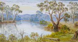 Sale 9191A - Lot 5028 - JOHN F NORTON (1875 - 1940) Bend in the River with Gums oil 24 x 45 cm (frame: 40 x 60 x 2 cm) signed