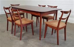 Sale 9240 - Lot 1006 - Timber 7 piece retro dining setting (table - h:70 l:198 w:95cm)