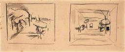 Sale 9244 - Lot 587 - JOHN PASSMORE (1904 - 1984) Working Drawings, 1950s ink and watercolour 20 x 48.5 cm (frame: 41 x 68 x 3 cm) unsigned. Von Bertouch...