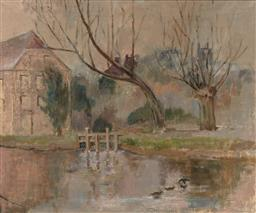 Sale 9244A - Lot 5087 - ARTIST UNKNOWN Cottage by a Lake oil on canvas 48 x 58.5 cm (frame: 59 x 70 x 5 cm) unsigned
