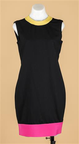 Sale 9250F - Lot 21 - A Gianni Versace Couture black dress with pink and yellow trim, zip to back, size S.