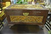 Sale 8307 - Lot 1096 - Oriental Camphor Trunk With Carvings