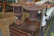 Sale 8331 - Lot 1026 - Large Pair of Cast Iron Urns
