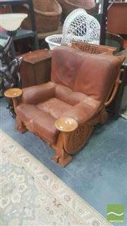 Sale 8451 - Lot 1029 - Oversized Timber Armchair with Carved French Horn Detail