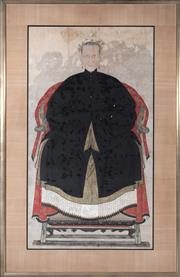 Sale 8517A - Lot 10 - Artist Unknown - Ancestor Portrait, Grandmother with Headress in Black Tunic
