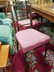Sale 8562 - Lot 1035 - Set of Six Carved Timber Dining Chairs with Upholstered Seat