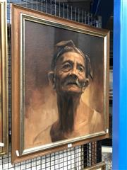 Sale 8807 - Lot 2057 - Artist Unknown Portrait of an Elder 1985 oil on canvas, 57 x 48.5cm, signed and dated lower