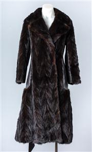 Sale 8828F - Lot 23 - A Ranch Mink And Leather Chevron-Cut Full-Length Coat By Koseff, Size Large