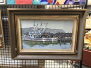 Sale 8824 - Lot 2036 - Allan Fizzell (1944 - ) - Ulladulla Moorings oil on canvas on board , 26 x 44.5cm, signed and dated lower right -
