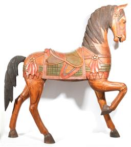 Sale 9102 - Lot 1021 - Large Carved Timber Horse Figure (Comes in Three Parts H: 124 cm).