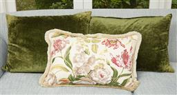 Sale 9108H - Lot 84 - A pair of dark olive cushions 50cm x 68cm together with a decorative floral design cushion.