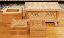 Sale 9103M - Lot 579 - A group of four timber cases including parquetry examples, largest Width 27.5cm