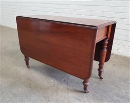 Sale 9142 - Lot 1072 - Victorian Mahogany Drop-Leaf Dining Table, with turned legs on castors (h67 x w105 x d47cm)