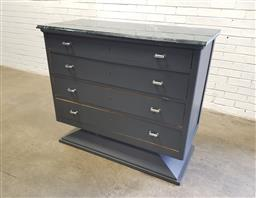 Sale 9134 - Lot 1530 - Painted chest of 4 drawers with marble top (h:106 x w:95 x d:55cm)