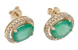 Sale 9209J - Lot 377 - A PAIR OF 9CT GOLD EMERALD AND DIAMOND CLUSTER STUD EARRINGS; each centring an oval cut emerald of approx. 1.10ct to surround of 26...