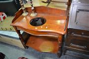 Sale 8019 - Lot 1084 - Late 19th Century Cedar Washstand with Shaped Gallery Back and Curtain Rail on Turned Legs Joined by a Shelf