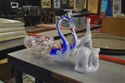 Sale 8189 - Lot 2135 - Art Glass Pair of Swans with an Elephant Figure & Crystal Basket