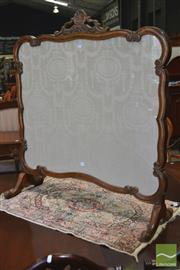 Sale 8282 - Lot 1100 - Fruitwood Carved Scroll Firescreen, with Adam style cream fabric panel