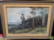 Sale 8407T - Lot 2031 - Artist Unknown (XIX - XX) - Landscape with Distant View of Beach Cove 29.5 x 43cm
