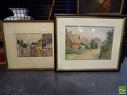 Sale 8407T - Lot 2091 - Framed Watercolour Paintings (2), Broughton st signed G.Owen & unsigned Village Scene
