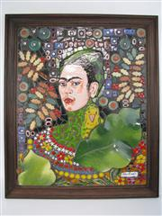 Sale 8451B - Lot 59 - Frida Kahlo by Rebecca Fernandez, framed ceramic artwork (68x 57cm)