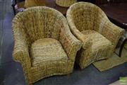 Sale 8523 - Lot 1081 - Pair Of Woven Tub Chairs