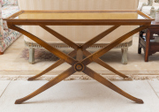 Sale 8677B - Lot 628 - A timber occasional table on cross stretcher base, H x 72cm, W x 111cm, D x 51cm