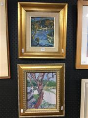 Sale 8754 - Lot 2004 - Lewis Staples (2 works) Above the River; Tree Study oil paintings, each framed -