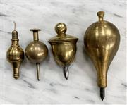 Sale 8951P - Lot 317 - Collection of 4 Vintage Brass Plumb Bobs in Acorn Form (largest 12cm)