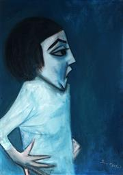 Sale 8966 - Lot 545 - Robert Dickerson (1924 - 2015) - Blue Study of a Young Girl 60 x 41.5 cm (frame: 74 x 56 x 4 cm)