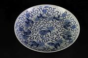 Sale 8957 - Lot 24 - A Chinese Blue and White Dish Decorated with Foo Dogs, Character Mark to Base (Dia 24cm)