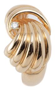 Sale 9046 - Lot 547 - A 14CT GOLD DIAMOND RING; reeded plume design set with a 0.03ct round brilliant cut diamond, width at top 13mm, size M, wt. 5.33g.