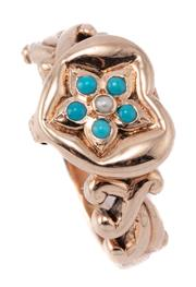 Sale 9054 - Lot 361 - A 9CT ROSE GOLD STONE SET LOCKET RING; heart motif hinged lid set with a seed pearl and turquoise cluster, size O, top 11.5 x 12.5mm...
