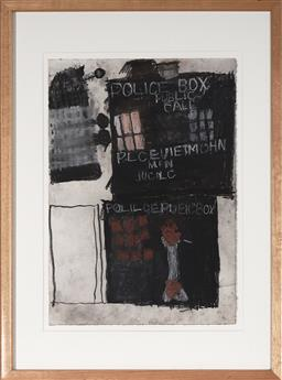 Sale 9094 - Lot 2031 - Leo Cussen (1959 - 2015) Untitled (Doctor Who TARDIS & Dalek), 2006 charcoal and pastel, 72 x 53cm, Art Project label verso -