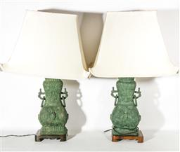 Sale 9093P - Lot 53 - Pair of Chinese Bronze Vase Form Lamps with White Silk Shades (American Plugs) (without shade h:53cm)