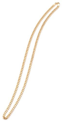 Sale 9124 - Lot 452 - AN 18CT GOLD CHAIN; 4mm wide curb link chain to parrot clasp with Italian hallmarks, length 54cm, wt. 15.91g.