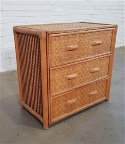 Sale 9151 - Lot 1163 - Woven chest of 3 drawers (h:80 x w:85 x d:46cm)