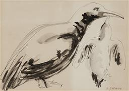 Sale 9244A - Lot 5075 - SALVATORE ZOFREA (1946 - ) Penguin Feeding its Young pen and wash 25 x 35.5 cm (frame: 51 x 59 x 3 cm) signed lower right