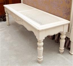 Sale 9190W - Lot 92 - A rattan top white painted bedroom ottoman. Height 44 x length 140 x depth 42cm