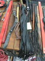 Sale 7926A - Lot 1725 - Leather discipline implements inc. collar and large leather whip