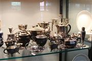 Sale 8116 - Lot 73 - Silver Plated Candelabrum with Other Plated Wares incl Teapots