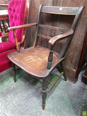 Sale 8559 - Lot 1051 - 19th Century Elm Windsor Armchair, with gallery back, turned legs & stretchers