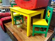 Sale 8648 - Lot 1064 - Kids Three Piece Timber Setting incl. Table & Two Chairs